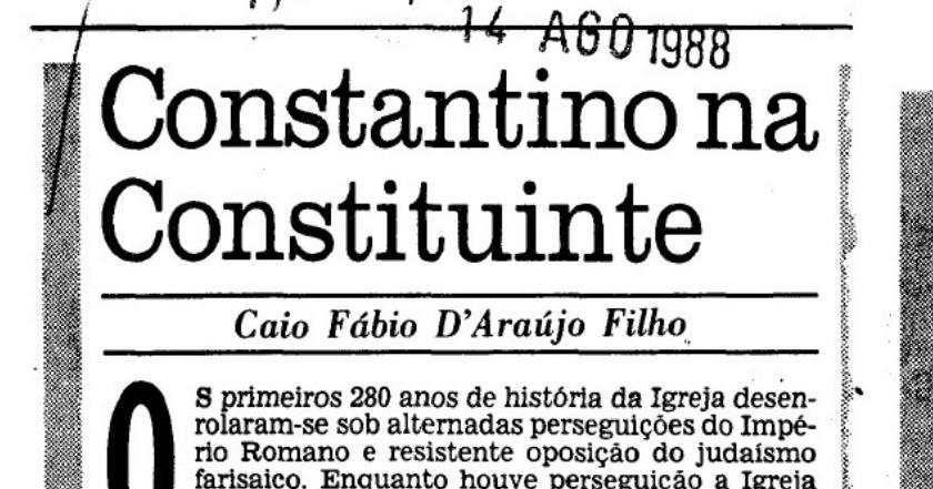 CONSTANTINO NA CONSTITUINTE. (1988) - Jornal do Brasil - Caio Fábio